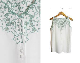 White top, Embroidered blouse, Cut out shirt, Womens blouse, Vintage top, Tank top, White tank top, Vintage shir, Bohemian top / Medium