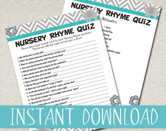Nursery Rhyme Quiz Print-out for Baby Shower Game - BLUE