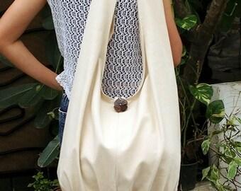 Handmade Canvas Bag Cotton bag Shoulder bag Sling bag Hobo bag Boho bag Messenger bag Tote Crossbody bag Handbags Purse  Cream