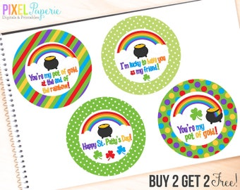 st. patrick's day printable tags labels digital favors irish - St. Patrick's Day Tags Printable