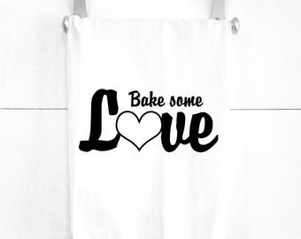 Bake Some Love Tea Towel Cotton Dish Towel for Baking