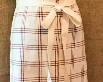 Vintage Linen Bistro Apron - Grain  Sack Fabric - Red