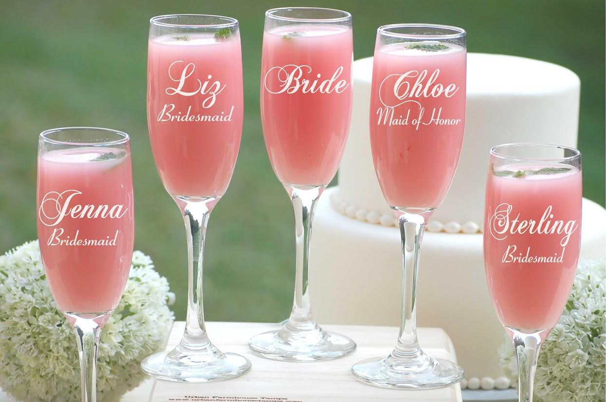 6 Personalized Bridesmaid Gifts, Champagne Flutes, Bridal Party ...