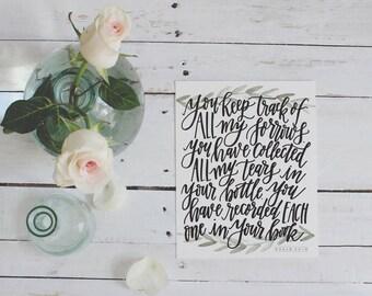 5x7 Hand-lettered Psalm 56:8 Bottle of Tears Digital Scripture Print