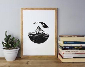Mountain Crest Print, Black on White Print, Mountains, Mountain Print, Poster, A3 Art Print, Minimal, Screen Print, Screen Print, Gift Idea