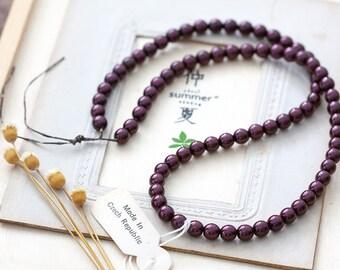 Vintage Czech Beads Aubergine Purple Luster Glass Beads 6mm