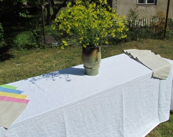 100% linen white tablecloth, breathable, organic flax linen table runner