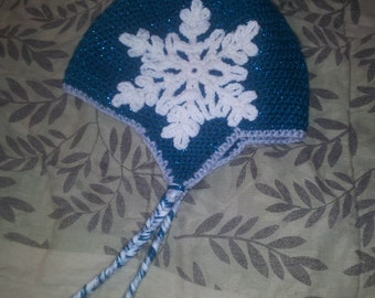 Crochet Earflap Hat With Snowflake Size 6-10 years