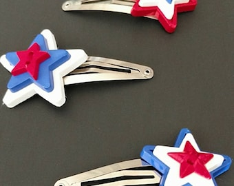 Red white and blue girl's hair clips