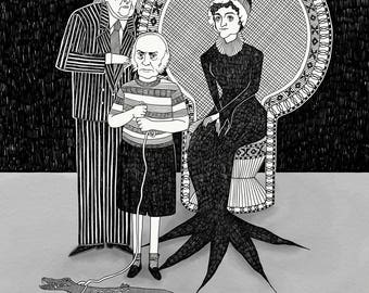 The Adams Family // American history pun art - art print