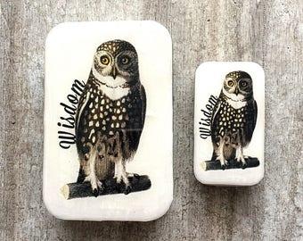 Wise owl tin SMALL, Notions tin, treasure box, jewellery box