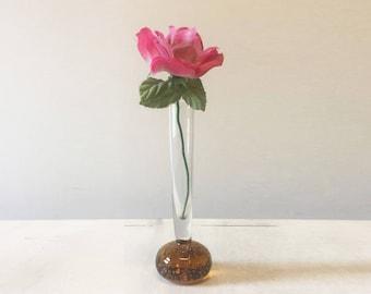Vintage glass vase, bubble vase, bud vase, vintage vase, bubble glass vase, brown glass vase, mid century, glass flower vase, retro vase
