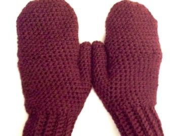 Convertible Mittens or Fingerless Gloves in Maroon, Glittens, Fingerless Gloves with Mitten Flap, Flip Top Mittens, Women's Mittens, Crochet