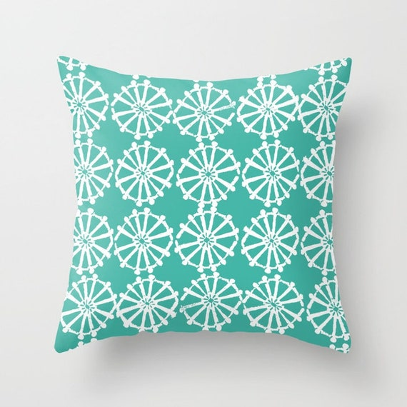 OUTDOOR Throw Pillow . Turquoise Outdoor Pillow . Turquoise patio cushion . Modern Geometric Pillow Wheel . 16 18 20 inch . Lumbar Pillow