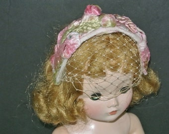 Velvet Bandeau Style Hat For Vintage Cissy Miss Revlon And Other 1950's Fashion Dolls.