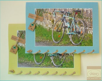 Italian Bicycle - Happy Cycling - Road Cycling - Bianchi Liquigas - Card Handmade in Ireland