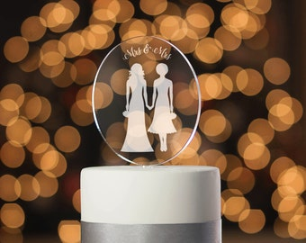 Modern Gay Cake Topper, Lesbian Wedding, Lesbian Cake Topper, Mrs & Mrs, Bridal Shower, Silhouette Cake Topper, Engraved Cake Topper (T350)