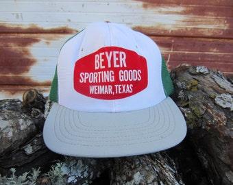 70s/80s Green Texas Trucker Hat, Kid's Hat, Women's S // Beyer Sporting Goods // Texas Baseball Cap