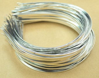 Silver Headbands,20pc 3mm(1/8 inch)silver plated Metal Headbands,Thin, with bent ends for best comfort,Wholesale,plain and simple.