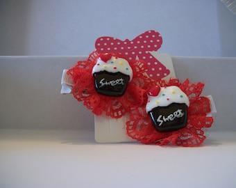 Sweet Cupcake Hair Clips