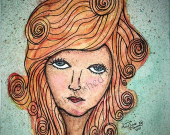 "Original Watercolor Painting ~ ""Brittany"" (Artist: Mary Jane O'Guinn) Woman, Portrait, Mixed Media, Drawing, Wall Art"