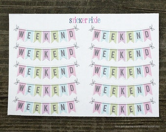 Bunting weekend sticker sheets, weekend Planner Stickers