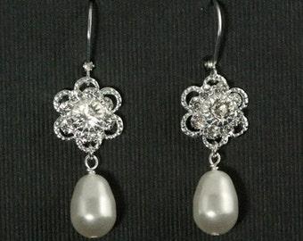 Bridal Pearl Drop Earrings, Swarovski Crystal Wedding Jewelry, Rhinestone Flower, Pearl Bridal Earrings -- ROMANCE IN BLOOM