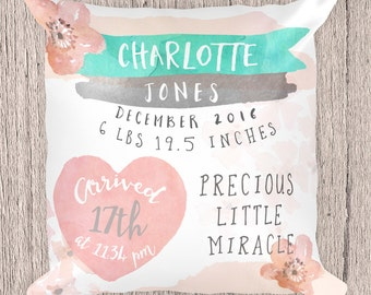 Birth Stats Pillow Cover -Personalized Baby Pillow - Birth Announcement Pillow - Baby Name Pillow - Nursery Pillow  - Baby Shower Gift