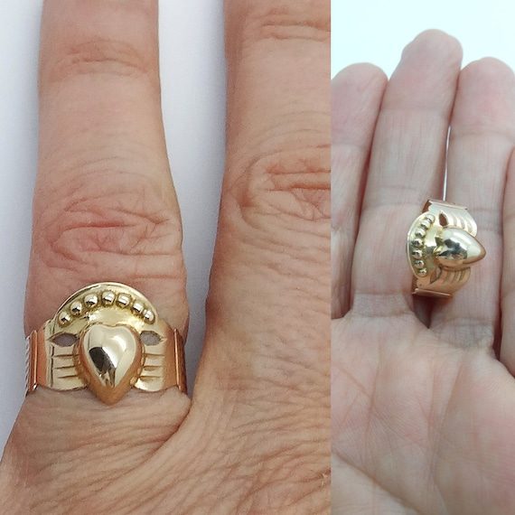 Antique Fede Ring Heart hands Friendship Engagement Ring 18k