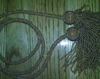 OOAK Four Foot Hand Beaded Tassel Bolo End Wrap Around Necklace or Beaded Belt Accessory