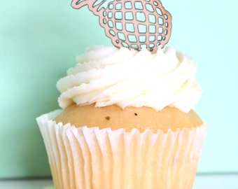 Wooden Cupcake topper - Party or special occasion, wood etched, pineapple, summer. SET OF 6