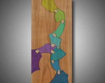 "Original Abstract Art, Wood Burned, Colored with Prismacolor Pencil, ""Recovering"" 10.75"" x 24"""