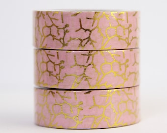 Washi tape Foil tape pink gold branches