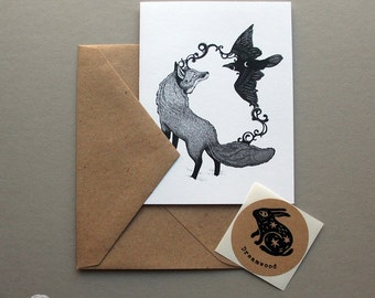 Blank Note Card Pack of 4 // Harmony // Fox and Raven