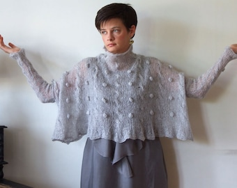 Oversized sweater shrug, gray mohair sweater,  extra wide cropped sweater, kid mohair poncho, braided hand knitted sweater, sheer sweater