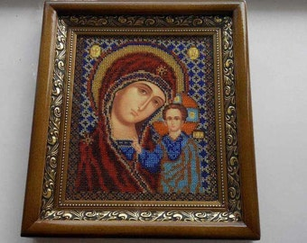 Beaded picture, beaded icon, Virgin Mary with Child