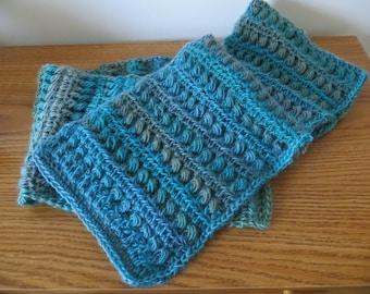 crochet women scarf, blue scarf, christmas gift