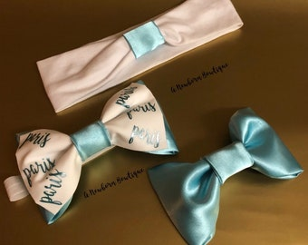 3pc. Aqua And White Personalized Headband Matching Bow Set Mommy And Me Big Sis Little Sis Gift Set Baby Shower Gift