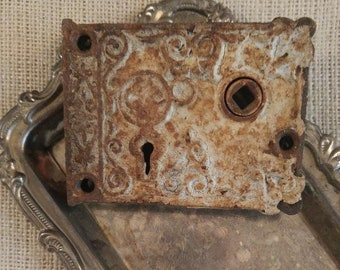 Antique mortise lock, 1800's door mortise lock, stunning old lock, rusty relic, industrial salvage, rusty door hardware, shabby chic decor