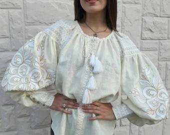 Beige vyshyvanka blouse of 100% linen with Ukrainain floral embroidery - boho ethnic folkloric - vita bohemian peasant top shirt