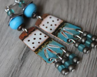 Tribal rustic primitive handcrafted ethnic earrings, Lampwork, enameled copper Bohemian, blue Brown, gift