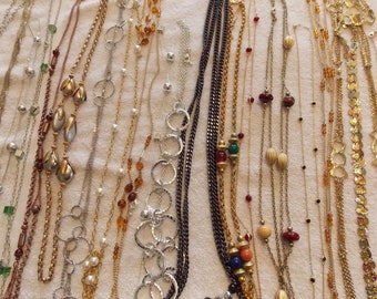 Lot over 20 long and very long necklaces, chains, chain few bead, other, large variety