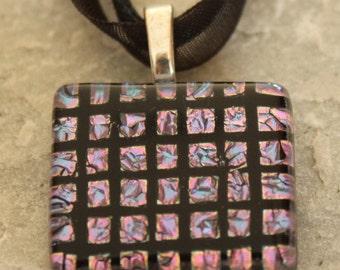 SALE Dichroic Fused Glass Pendant Necklace Purple Black Checker Board