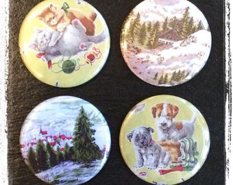 Pocket mirror featuring vintage fabric images - dogs, cats, alpine scenes