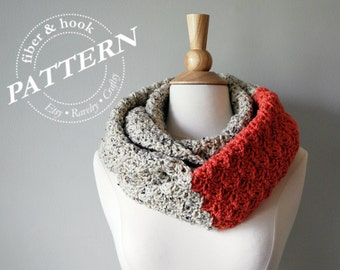 CROCHET PATTERN - Surrey Scarf, Crochet Scarf Pattern, Easy Crochet, Fall Scarf Pattern, Infinity Loop Scarf, Color Block Scarf, pdf #043S