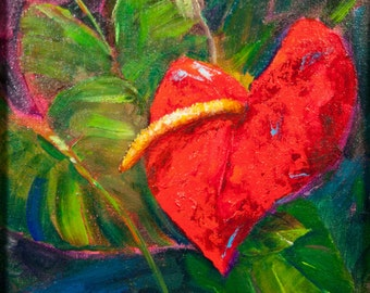 Flamingo flower oil painting, laceleaf or tail flower, red  Anthurium