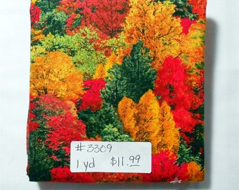 Fabric - 1yd piece-Multi Harvest Trees/Red/Orange/Green -Nature/Outdoors/Wildlife/Country/Wood/Woods/Forest (#3309) Elizabeth's Studio