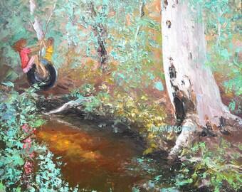 Australian landscape art, whimsical painting, gum trees painting, creek, kids art, impressionist art, Etsy Art, Jan Matson