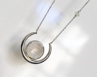 Eclipse Pendant Gemstone Necklace, Custom Faceted Birthstone Pendant, Push gift,  Handmade Recycled Gold, Palladium, Platinum