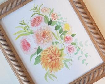 Peachy Floral Art Print (Watercolor Illustration-Floral Art Print - Art - Home Decor - Wall Art - Farmhouse Decor)
